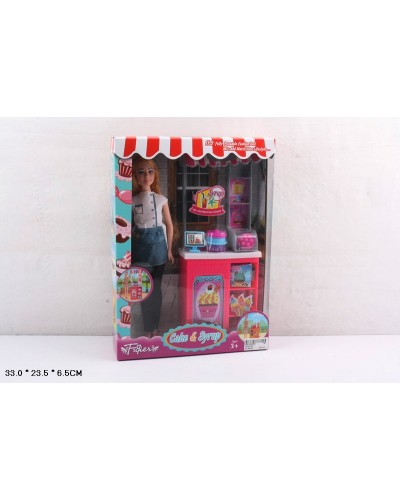 "Кукла ""Кондитер"" JX200-19/20 2вида, кондитерский прилавок, аксесс, кор. 33*23,5*6,5 см"