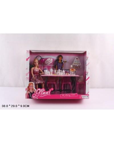 """Кукла типа """"Барби"""" 83272  шарнирная, с набором мебели, посудка, в кор.38*9*29см"""