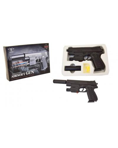 Пистолет 239AS батар., лазер, свет, глушитель, с пульками, в коробке 22*11*2см