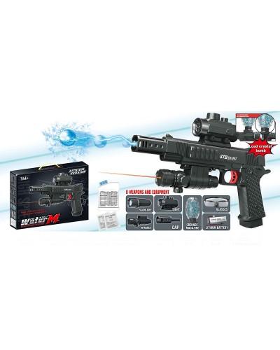 Пистолет аккум. SB410 гел. пули, прицел, лазер, в коробке 41х32х7см
