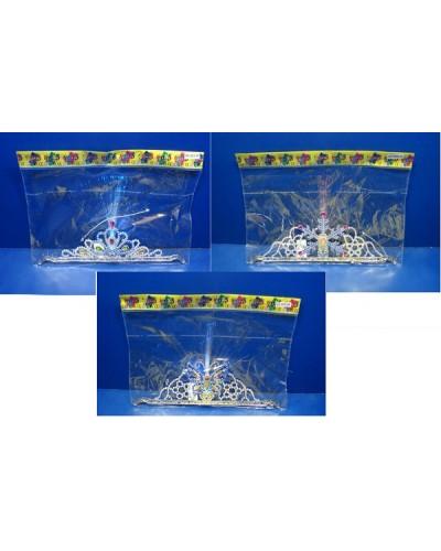 Аксессуары для девочек 4838-7A/5A/6A 3 вида, корона, светятся кисточки, в пакете 32см