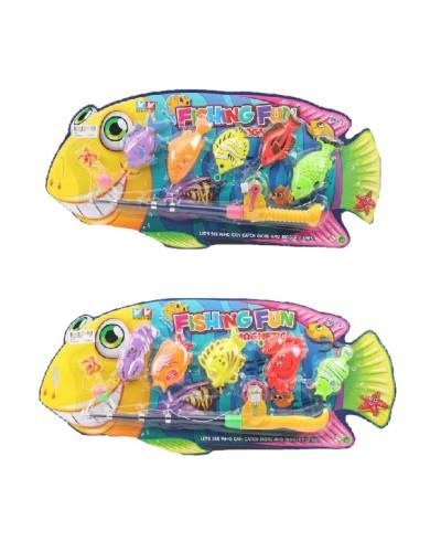 Рыбалка 6329/6313 2 вида, удочка, 5 рыбок, на планшетке 54*25*4см