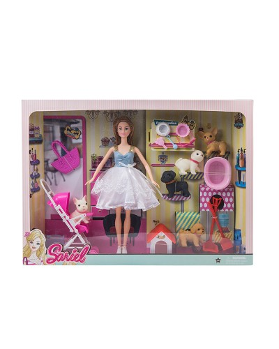 Кукла  7725-A1 с питомцами, коляской, с аксесс, в кор.47*7*34 см
