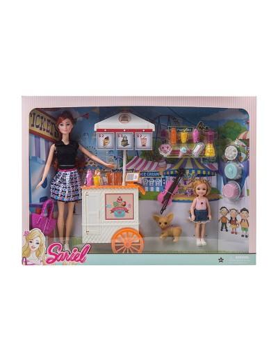 Кукла  7725-C1 с куколкой, тележкой для мороженого, собачкой, аксес, в кор. 47*7*34 см.
