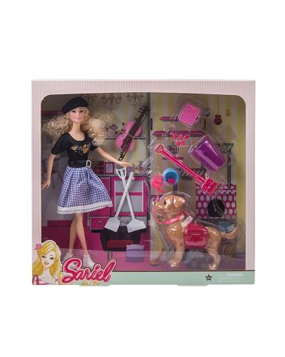 Кукла  7726-A1 с собакой, скрипкой, аксес для собаки и уборки, в кор.36,5*7*34 см