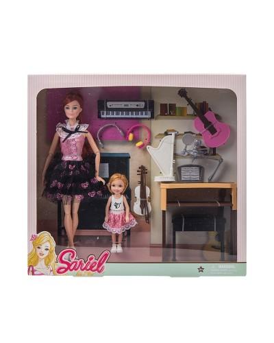 Кукла  7726-B1 с куколкой, пианино, гитарой, арфой, аксес, в кор. 36,5*7*34 см