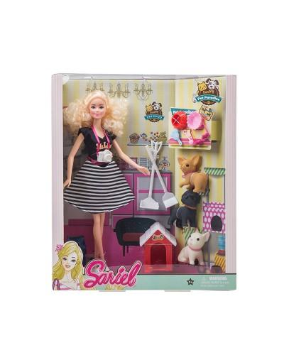 Кукла  7727-A2 с питомцами, будкой, мисочками, аксес для уборки, в кор.33*9*28,5 см