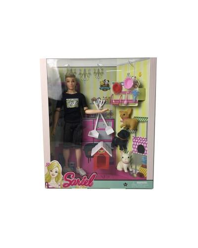 Кукла  7727-A3 с питомцами, будкой, аксессуарами, в кор.33*9*28,5 см