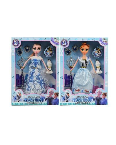 """Кукла """"F"""" YX1017 2 вида, волш палочка, бижутерия, снеговик, в кор. 23*5*33см"""