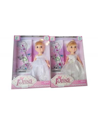 "Кукла ""Невеста"" 88009 2 вида, с короной, волш палочкой, аксес, в кор. 12*6,5*28 см"