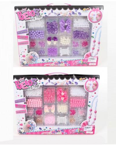 Бисер ZD040/41 набор DIY украшения, бантики, бусинки, 2 вида, в коробке 36,5*3*2