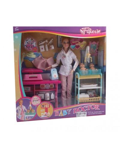 "Кукла ""Доктор"" JX200-36/37 2 вид, акушерск. столик, весы, малыши, мед аксс, кор 34*9*35см"