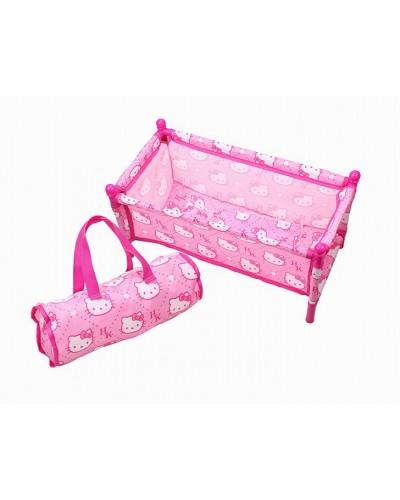 """Кроватка металл """"Hk"""" CS7856 для куклы до 45см, с одеялом, подушкой, в сумке 45*22*22см"""