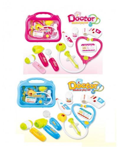 Доктор 660-53/54 2 вида, стетоскоп, шприц, градусник, в чемодане.28*7,5*23 см