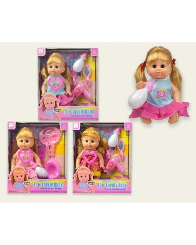 Кукла функц. KY000347/52/58 3 вида, муз. пьет-пис, горшок, бутылка, приборы, в кор. 28*11*33,3 см