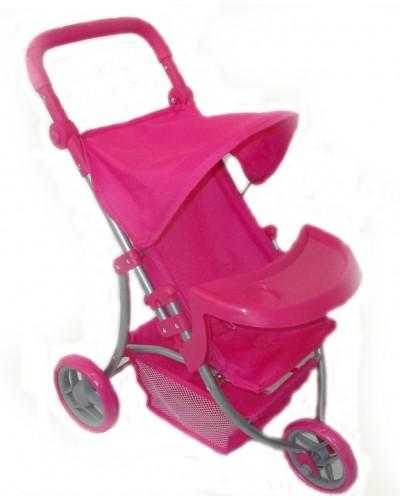 Коляска 9377B-T летняя, +корз +стол для бут, колеса роз,ткань роз. с мишками, в кор. 59*39.5*63.5см