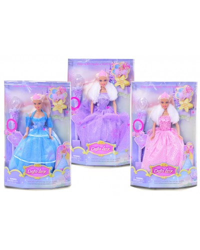 """Кукла """"Defa Lucy"""" 8003 3 вида, с волш/палочкой - свет, в вечернем платье, в кор.21,5*8*34см"""