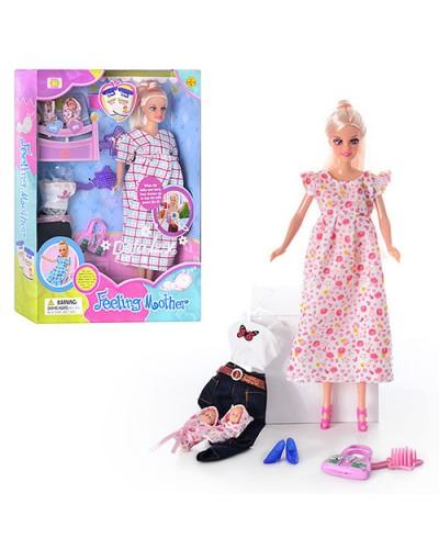 """Кукла """"Defa Lucy"""" 8009 3 вида, беременная, 2 пупсика, с одеждой, обувью, сумочкой, в кор.33*6*24"""