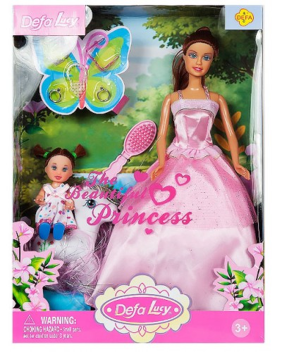 """Кукла """"Defa Lucy"""" 8077 в бальном платье, с куколкой, пони, в кор.32,5*24*6 см"""