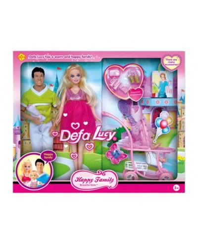 """Кукла """"Defa Lucy""""Семья"""" 8088 с ребенком, коляской, аксесс, в кор.41*6,5*34см"""