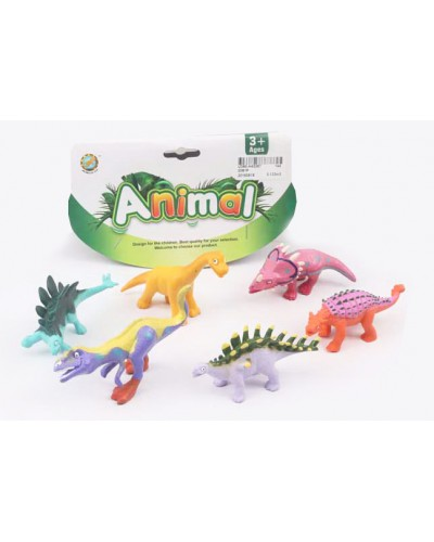 Животные 0081P динозавры, 6 штук  в пакете 17см