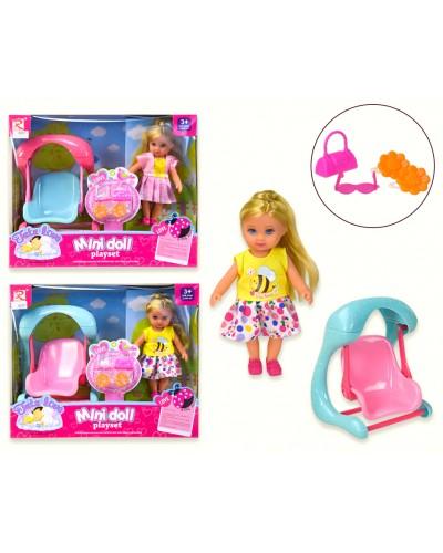 Кукла маленькая 8257 2 вида, качелька, аксессуары, в кор. 24.5*10*20 cm