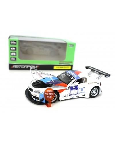 "Машина метал. 7853 ""АВТОПРОМ"" спорткар 1:32 BMW Z4 GT3  свет, звук, в коробке 18*9*9"