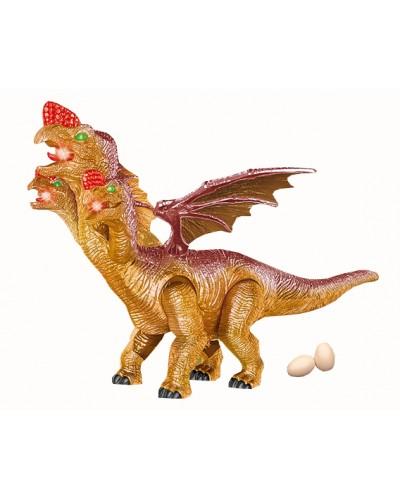 Животное 830B динозавр трехглавый, батар., свет, звук, в коробке 45*43*31см