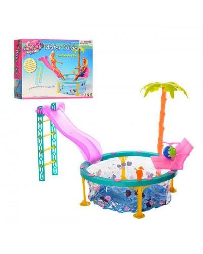 """Мебель """"Gloria"""" 1678 с бассейном для кукол 29 см, горка, шезлонг, в кор.33*6,5*24см"""