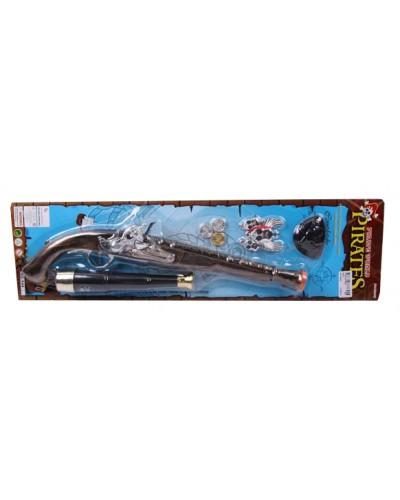 Пиратский набор 444-1 пистолет, аксессуары, на планшетке 55*15 см