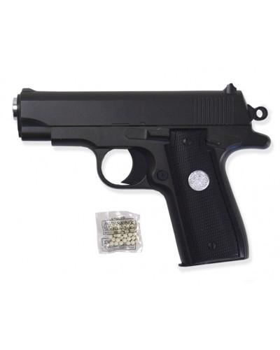 Пистолет метал. пластик G.2 с пульками в коробке 16*11*2,5см