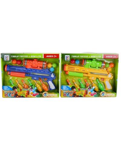 Оружие 648-18 стреляет шарами + кегли-мишени, 2 цвета,  в кор. 40*30*7см