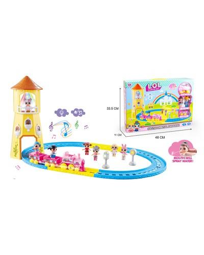 Игровой набор LOL-08 Железная дорога, в компл. 2 фигурки, 2 вагона, свет, звук, в кор. 48*11