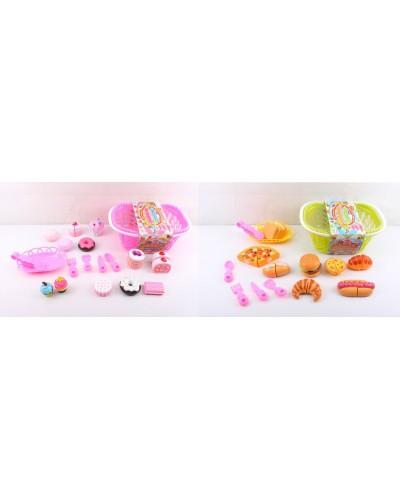 Продукты 3016/3017 2 вида, тарелочка, тортики, приборы, в корзинке 30*21*12 см