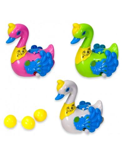 Заводной лебедь 336 3 цвета, несет яйца, в коробке 11*8*17 см