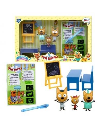 """Доска """"Рисуем светом"""" YM016 фигурки Три кота, ручка, трафарет, инструкция, в коробке"""