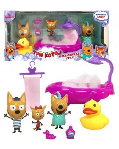 Игровой набор YM015 Три кота, ванна, герои, в коробке 28,5*9,5*13,5см