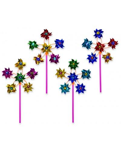 Ветрячок V1903 голограмма, с 6-ю цветками, микс цветов, цена за 1шт в пакете