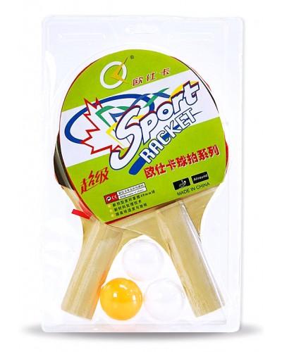 Теннис настольный PP0101 2 ракетки, 3 мяча, 6мм, в слюде 25*15 см