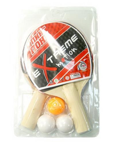 Теннис настольный T0102 2 ракетки + 3 мячика, под слюдой 25*15см