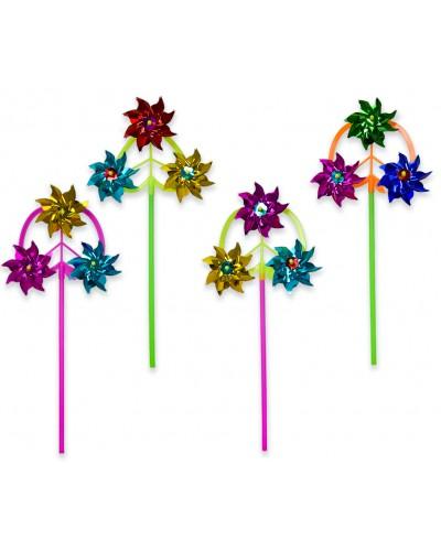 Ветрячок V1900 голограмма, с 3-мя цветками, 4 вида