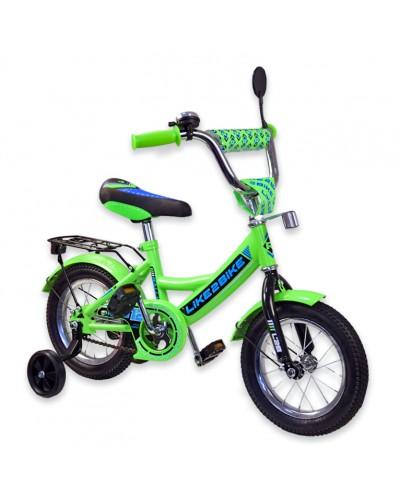 """Велосипед детский 2-х колёсный 12"""" 191214 Like2bike RALLY, салатовый, без переднего тормоза"""