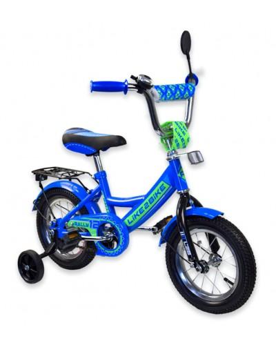 """Велосипед детский 2-х колёсный 12"""" 191215 Like2bike RALLY, синий, без переднего тормоза"""