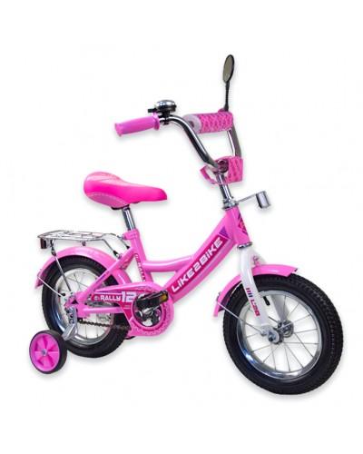 """Велосипед детский 2-х колёсный 12"""" 191216 Like2bike RALLY, розовый, без переднего тормоза"""