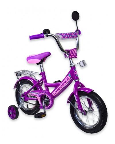 """Велосипед детский 2-х колёсный 12"""" 191217 Like2bike RALLY, фиолетовый, без переднего тормоза"""