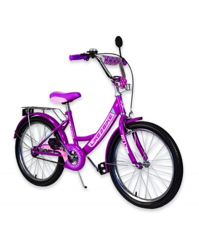 """Велосипед детский 2-х колёсный 20"""" 192017 Like2bike RALLY, фиолетовый, без тренировочных колёс"""