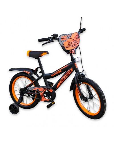 """Велосипед детский 2-х колёсный 16"""" 191622 Like2bike Dark Rider, чёрно/оранжевый"""