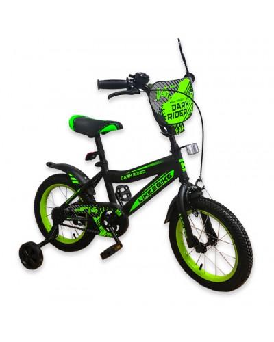 """Велосипед детский 2-х колёсный 18"""" 191819 Like2bike Dark Rider, чёрно/салатовый"""