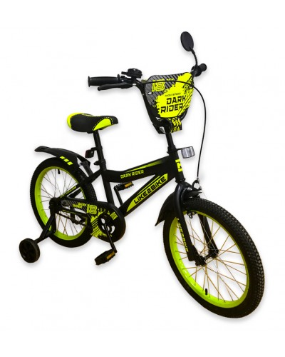 "Велосипед детский 2-х колёсный 18"" 191821 Like2bike Dark Rider, чёрно/жёлтый"