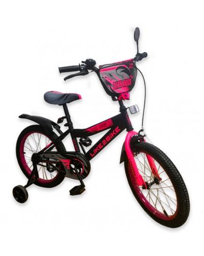 "Велосипед детский 2-х колёсный 18"" 191823 Like2bike Dark Rider, чёрно/роз"